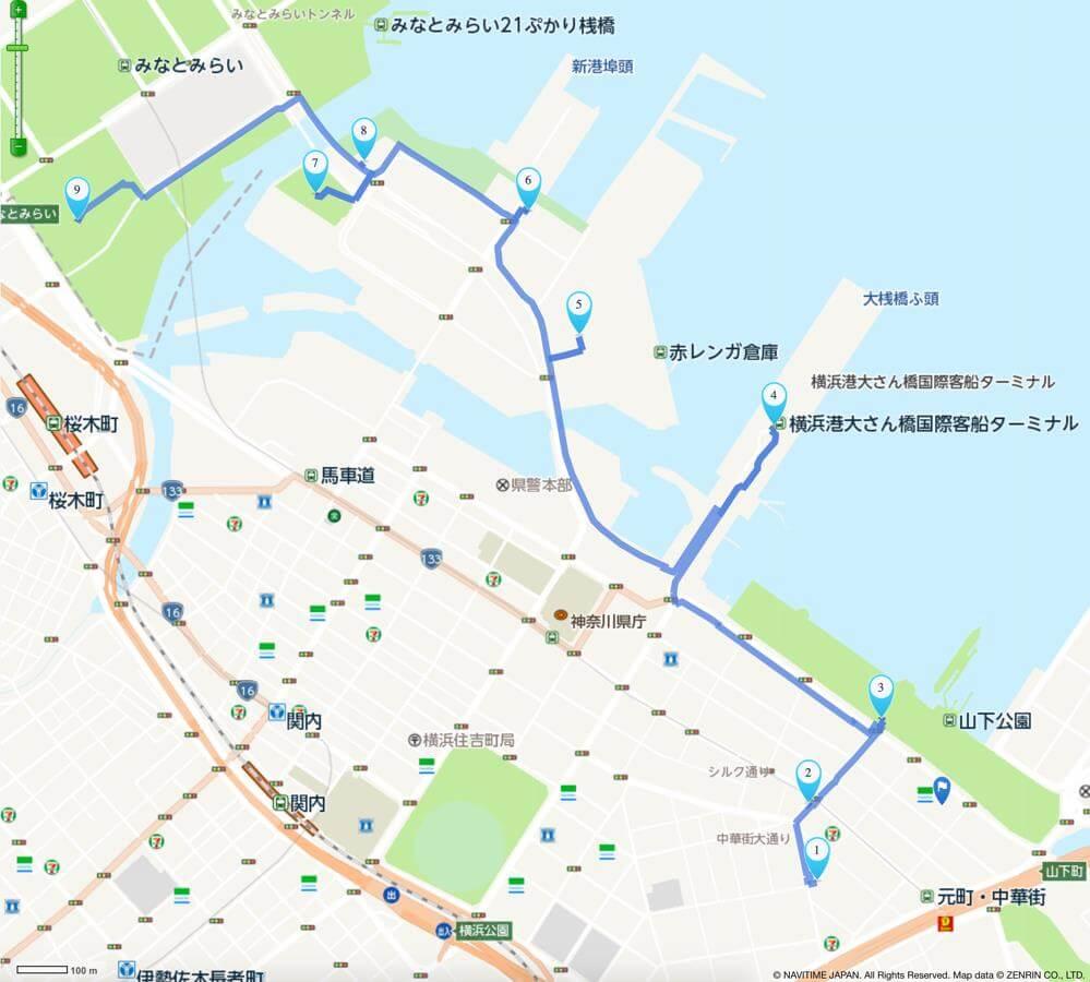 横浜デートおすすめコースマップ